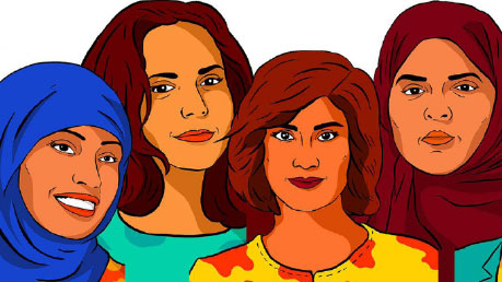 Illustration of 4 ethnic women