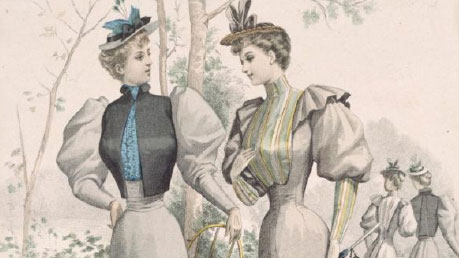Old fashion illustraion of Victorian women