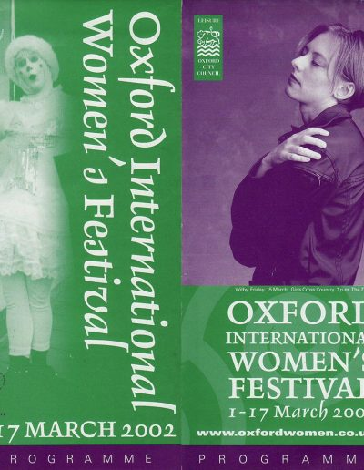 Cover for the OIWF festival programme 2002