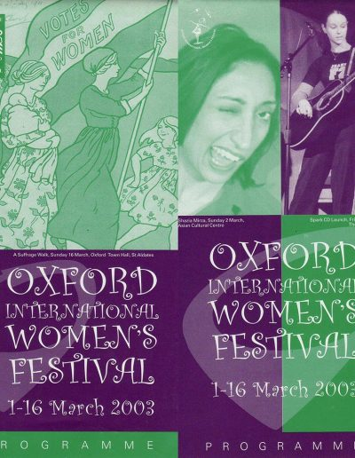 Cover for the OIWF festival programme 2003