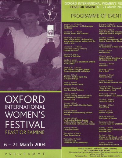 Cover for the OIWF festival programme 2004