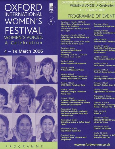 Cover for the OIWF festival programme 2006