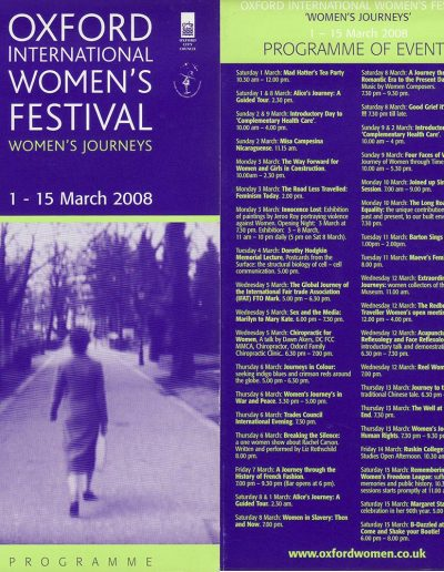 Cover for the OIWF festival programme 2008