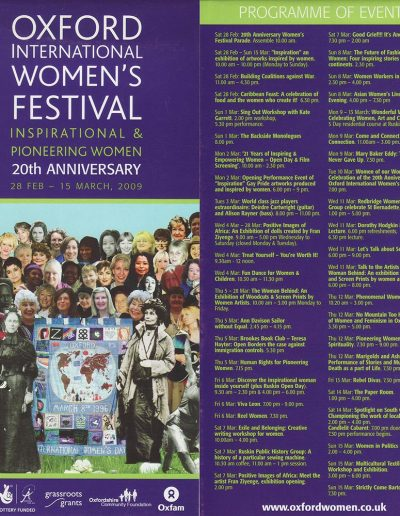 Cover for the OIWF festival programme 2009